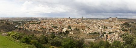 Famous cities of Toledo in Spain. Panoramic view of the famous city Toledo, in Spain Royalty Free Stock Photos