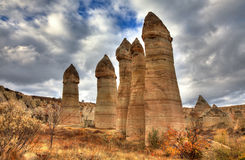 Famous city  Cappadocia in Turkey. The Hittites settled Cappadocia from 1800 BC to 1200 BC, after which smaller kingdoms held power. Then came the Persians Royalty Free Stock Image