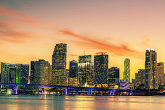 Famous cIty of Miami, summer sunset Royalty Free Stock Photo