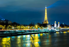 The famous city of Paris at night in France Royalty Free Stock Photos