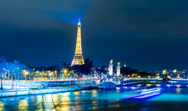 The famous city of Paris at night in France Royalty Free Stock Photography