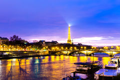 The famous city of Paris at night in France Royalty Free Stock Images