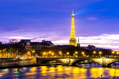 The famous city of Paris at night in France Stock Photos