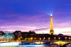 The famous city of Paris at night in France Stock Images