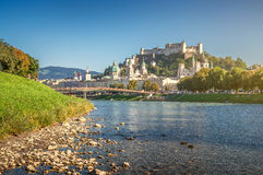 Famous city of Salzburg with historic fortress and Salzach, Austria Royalty Free Stock Photography