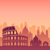 Famous city scape in color. Flat well known silhouettes. Vector illustration easy to edit Royalty Free Stock Images