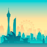 Famous city scape in color. Flat well known silhouettes. Vector illustration easy to edit Royalty Free Stock Image