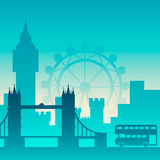 Famous city scape in color. Flat well known silhouettes. Vector illustration easy to edit Stock Images