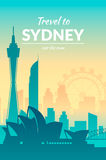 Famous city scape in color. Flat well known silhouettes. Vector illustration easy to edit Royalty Free Stock Photo