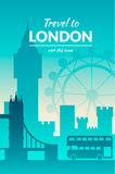 Famous city scape in color. Flat well known silhouettes. Vector illustration easy to edit Stock Photography