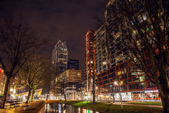 Famous city sights at night time on December 26, 2015 in Rotterdam - Netherlands. Royalty Free Stock Image