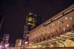 Famous city sights at night time on December 26, 2015 in Rotterdam - Netherlands. Stock Photos