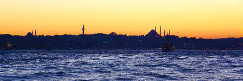 Famous cityscape of Istanbul at sunset Royalty Free Stock Photography