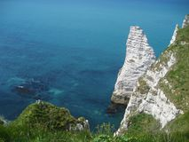 The famous cliffs at Ã?tretat, Normandy, France Royalty Free Stock Images