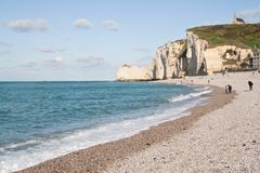 The famous cliffs at Etretat, France Royalty Free Stock Image