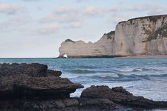 The famous cliffs at Etretat, France Royalty Free Stock Images