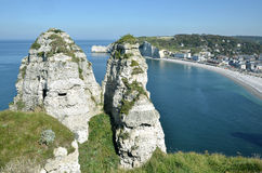 Famous cliffs of Etretat in France Stock Images