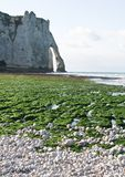 The famous cliffs at Etretat, France. Tide sea Royalty Free Stock Images