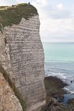 The famous cliffs at Etretat , France. Tide sea Stock Images