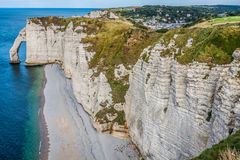 The famous cliffs at Etretat in Normandy, France Stock Images