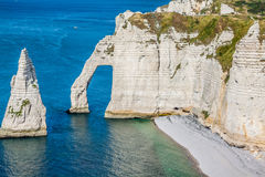 The famous cliffs at Etretat in Normandy, France Royalty Free Stock Photos