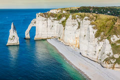 The famous cliffs at Etretat in Normandy, France Stock Photography