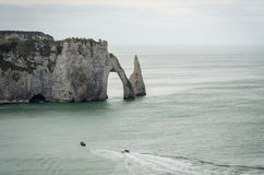 The famous cliffs at Etretat in Normandy, France Royalty Free Stock Images