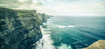 Famous cliffs of moher, west coast of ireland. At wild atlantic ocean Stock Photo