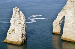 Famous cliffs and pointed Needle of Etretat in Fra Stock Image