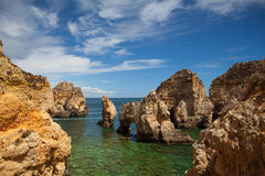 Famous cliffs of Ponta de Piedade, Lagos, Royalty Free Stock Photos