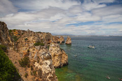 Famous cliffs of Ponta de Piedade, Lagos, Algarve, Royalty Free Stock Photography