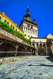 Famous clock tower in historic Sighisoara city center,Transylvania,Romania royalty free stock image