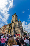 The famous clock tower of Prague City Hall Stock Image
