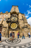 The famous clock tower of Prague City Hall Stock Images