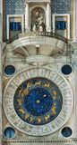 Famous clock in Venice. Detail of Clock Tower in St Mark's Square, Venice, Italy Stock Photos