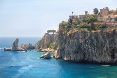Famous coast Isola Bella at Sicily, Italy Royalty Free Stock Photos