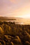 Famous Coastline Pancake Rocks in New Zealand Concept Royalty Free Stock Image