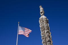 The famous Codger Pole commemorates a local football game, a large chainsaw carving in Colfax , Washington stock photo