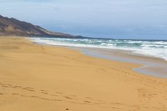 Cofete beach in Fuerteventura, Canary Islands. The famous Cofete beach in Fuerteventura, Canary Islands Royalty Free Stock Photography