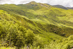 The famous Col d'Aubisque. The beautiful slopes and mountains around the Col D'Aubisque in the Pyrenees Royalty Free Stock Image