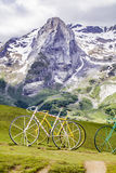 The famous Col d'Aubisque. High peaks on the top of the Col d'Aubisque Stock Photo