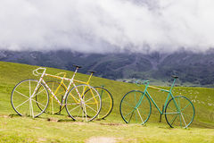 The famous Col d'Aubisque. Three bikes on the finish from the Tour de France on the Col d'Aubisque Royalty Free Stock Images