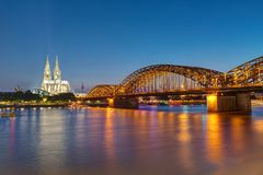The famous Cologne Cathedral and the Hohenzollern railway bridge Royalty Free Stock Photos