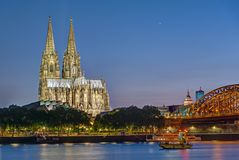 The famous Cologne Cathedral and the river Rhine Stock Photography