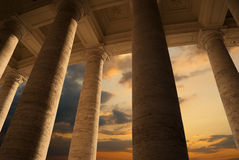 Famous colonnade of St. Peter's Basilica in Vatica. N at sunset, Rome, Italy Stock Photo
