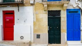 Famous colorful doors in the ancient city of Valletta, Malta. Famous colorful doors in the ancient city of Valletta, Malta Royalty Free Stock Image