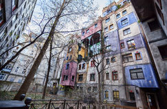 Famous colorful Hundertwasser house in Vienna Royalty Free Stock Photography