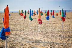 The famous colorful parasols on Deauville Beach Stock Images