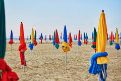 The famous colorful parasols on Deauville Beach, Normandy Stock Photos