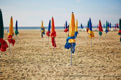The famous colorful parasols on Deauville Beach, Normandy Royalty Free Stock Image